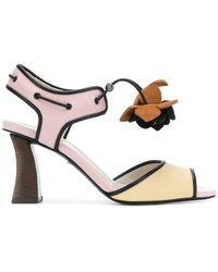 e625d6b81b034 Marni - Floral-appliqué Colour-block Sandals - Lyst