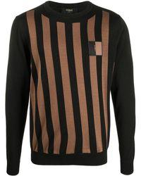 Fendi - Striped Logo Patch Jumper - Lyst