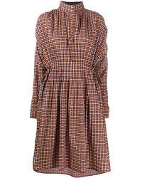 Cedric Charlier チェック ハイネック ドレス - オレンジ