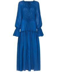 Masterpeace Ruffled Long-sleeve Maxi Dress - Blue
