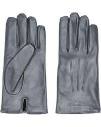 Emporio Armani Logo-debossed Gloves - Gray
