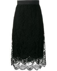 Dolce & Gabbana Midirock aus floraler Spitze - Schwarz