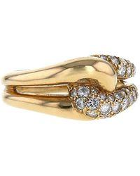 Van Cleef & Arpels 1980s Pre-owned Yellow Gold Interwoven Diamond Ring - Metallic