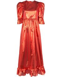 BATSHEVA Prairie Metallic Puff-sleeve Dress - Red