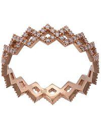 Eva Fehren 18kt Rose Gold Rex Diamond Band Ring - Metallic