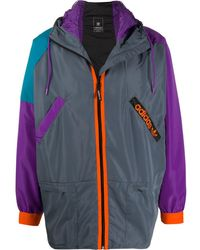 adidas Windbreaker in Colour-Block-Optik - Grau
