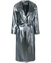 Alberta Ferretti Oversized-Mantel im Metallic-Look - Grau