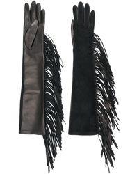 Manokhi フリンジ レザー手袋 - ブラック