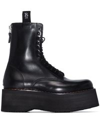 R13 Double Stack Leather Boots - Black