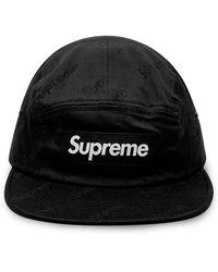 Supreme Jacquard Logo Twill Camp Cap - Black