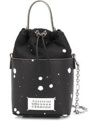 Maison Margiela Paint Splatter 5ac Bucket Bag - Black