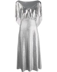 Paco Rabanne Mesh Panel Midi Dress - Metallic