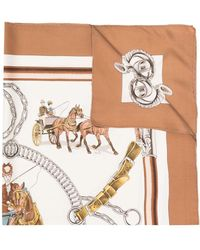 Hermès 1970s Pre-owned Equipages Silk Scarf - White
