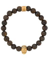 Northskull Bronzit-Armband mit Totenkopf - Braun