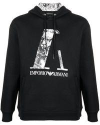 Emporio Armani ドローストリング パーカー - ブラック
