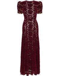 The Vampire's Wife Purple Flocked Lace Velvet Maxi Gown