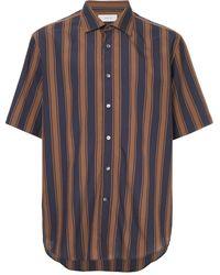 Cerruti 1881 Short Sleeve Striped Shirt - Brown