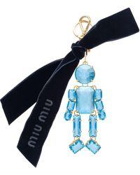Miu Miu Llavero Trick con motivo de hombre - Azul