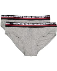 DSquared² Pack Of 2 Logo Waistband Briefs - Gray