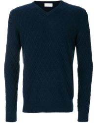 Ballantyne | Lattice V-neck Jumper | Lyst