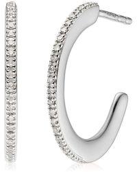Monica Vinader Fiji Skinny Hoop Diamond Earrings - Metallic