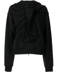 Goen.J Sudadera con capucha y cremallera - Negro