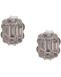 Sara Weinstock 18kt White Gold Illusion Emerald Cut Diamond Stud Earrings - Metallic