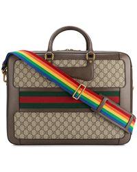 Gucci - Leather Rainbow Strap Gg Briefcase - Lyst