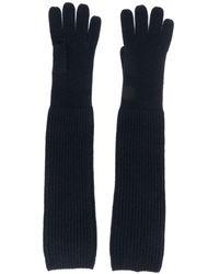 N.Peal Cashmere Geribbelde Handschoenen - Blauw