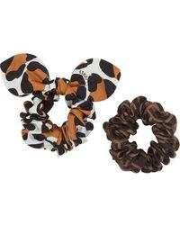 Fendi Multi-print Scrunchies Set - Brown