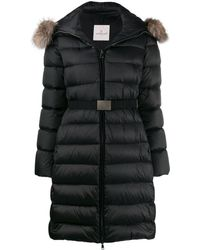 Moncler Abrigo acolchado con cinturón - Negro