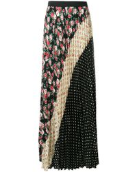 P.A.R.O.S.H. - Floral And Polka Dotted Pleated Skirt - Lyst