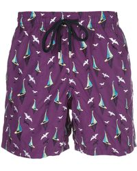 Vilebrequin Sail Boat Print Swimming Shorts - Purple