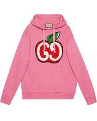 Gucci グッチGGアップル プリント フーデッド スウェットシャツ - ピンク