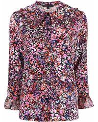 Maje Chemise en soie à fleurs - Rose