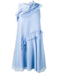 Carven ラッフルフレアドレス - ブルー