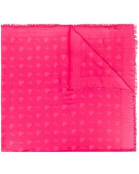 Twin Set Frayed Heart-print Scarf - Pink