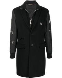 Philipp Plein Многослойное Длинное Пальто - Черный