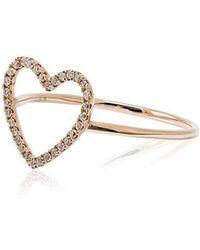 Rosa De La Cruz - Rose Gold And Diamond Heart Ring - Lyst