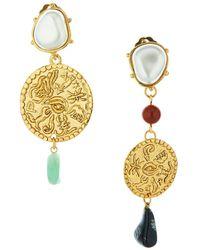 Oscar de la Renta Coin-embellished Drop Earrings - Metallic