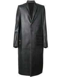 Rick Owens Wet Look Coat - Black