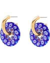 Brinker & Eliza Gold-plated Hoop Earrings - Blue