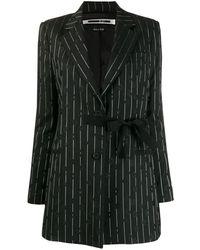 McQ Pinstripe Floral Embroidered Blazer - Black