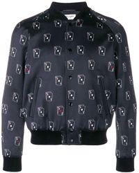 Saint Laurent Sl Playing Card Print Varsity Jacket - Blauw