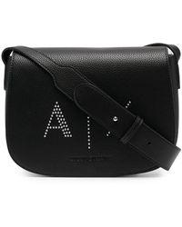 Armani Exchange ロゴ サッチェルバッグ - ブラック