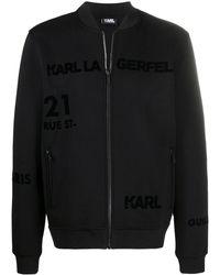 Karl Lagerfeld ロゴ ボンバージャケット - ブラック