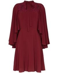 Giambattista Valli - Lace Insert Cape Sleeve Silk Dress - Lyst