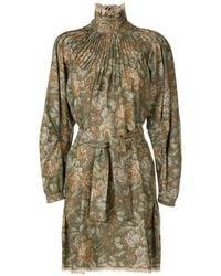 À La Garçonne Funnel Neck Wool Dress - Brown