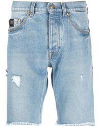 Versace Jeans Couture Джинсовые Шорты С Эффектом Потертости - Синий