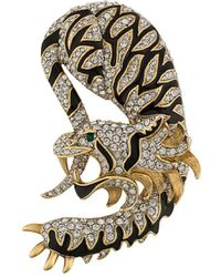 Susan Caplan 1960s Tiger Dragon Brooch - Multicolour